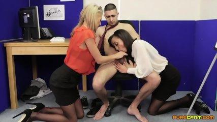 Two Girls Suck Lucky Guy's Dick - scene 8