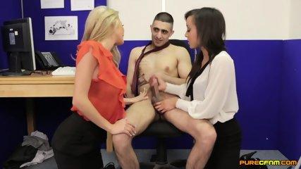 Two Girls Suck Lucky Guy's Dick - scene 11