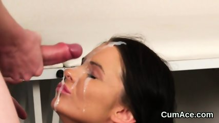 Nasty looker gets sperm shot on her face swallowing all the load