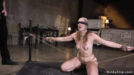 Tied up and spreaded babe anal fucked