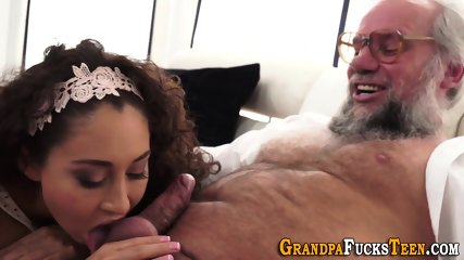 Teen banged with old rod