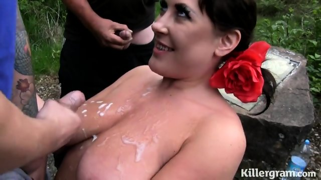 Busty Whore Surrounded By Dicks