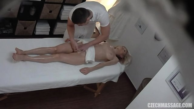 Casual Blonde Stimulated By Masseur