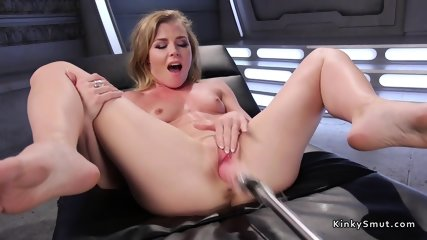 Fast machine in blonds tight pussy