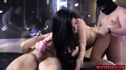Hot milf bukkake with facial cum