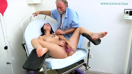 Kinky Doctor Touches Her Pussy