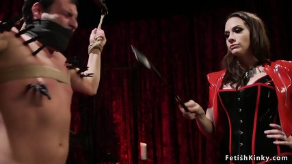Mistress anal fists male in doggy