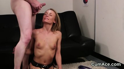 Hot sex kitten gets cum load on her face swallowing all the cum