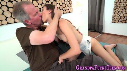 Teen bounces on grandpa
