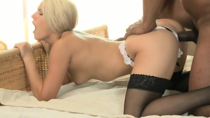 Amazing Blonde Blanche Makes Love With Her Black Lover