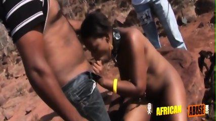 Pretty black sex slave on her knees