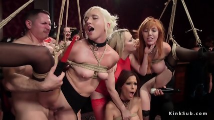Slaves vibed and fucked in bdsm orgy
