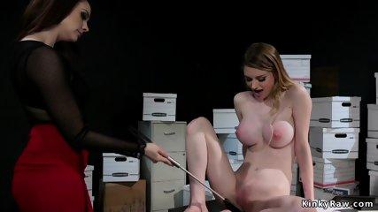 Big tits lesbian employee anal fucked