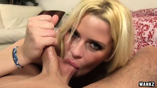Wild Slut Sucks And Rubs Cock