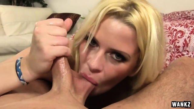 Wild Slut Sucks And Rubs Cock