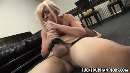 Vulgar Blonde Rubs Tied Guy's Dick