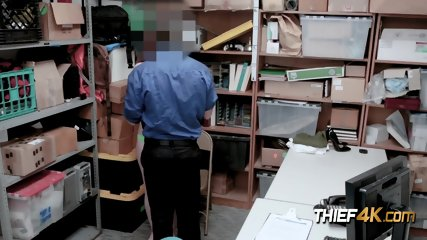 Horny officer stuffs his big cock in shoplifters tight cunt