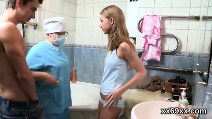 Doctor gazes hymen examination and virgin cutie reaming