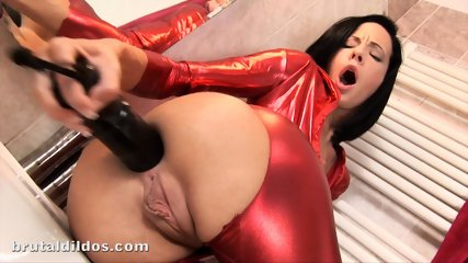 Huge Black Dildo In Elegant Girl's Ass