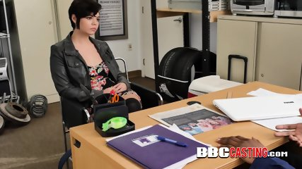 Short haired beauty delights herself with directors BBC