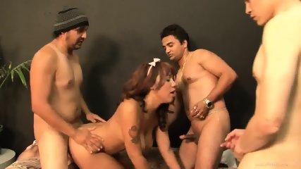 Exotic Babysitter Gets Gang Banged - scene 7