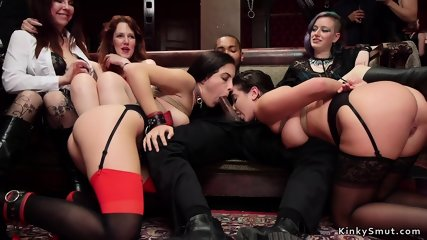 Tied up babes sharing big black cock