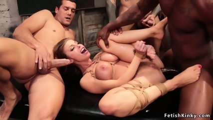 Double penetration for big tits blonde