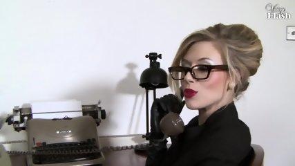 Elegant Woman Masturbates On Desk - scene 1