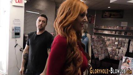 Gloryhole redhead guzzles