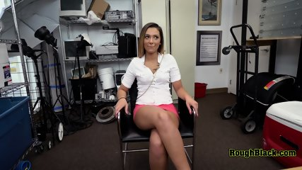 Hot chick with pink skirt makes directors big cock hard