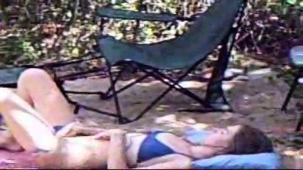 Chick caught masturbating on campsite - scene 6