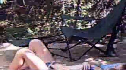 Chick caught masturbating on campsite - scene 7