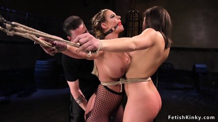 Two slaves tormented and made to cum