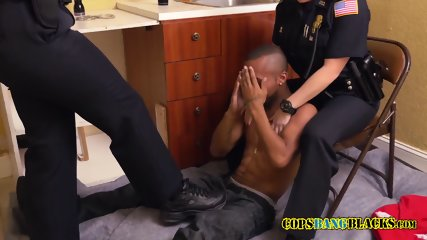 Black trespasser gets caught by horny milf cops in private property