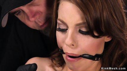 Big tits hottie whipped in bondage