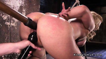 Big ass blonde fucked in hogtie