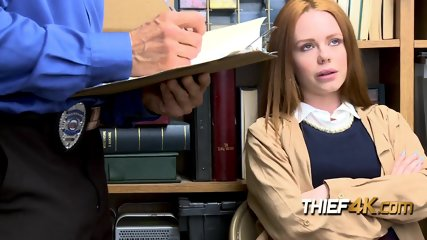Hot redhead Ella complies with horny officers s order of stripping down