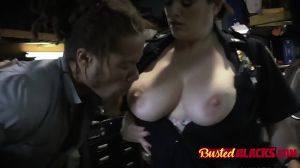 Busty officer is screaming under heavy vaginal load