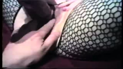 Fishnet slut dildoed and pussy stretched - scene 7