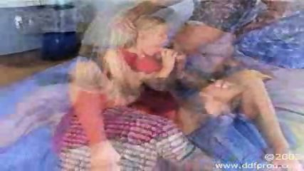 Hot blonde gets banged by two guys - scene 6