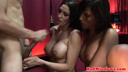 Dutch whores share clients cock in threeway