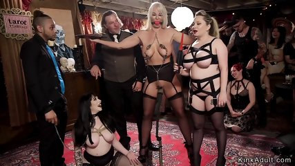 Mistress presents anal slaves at party