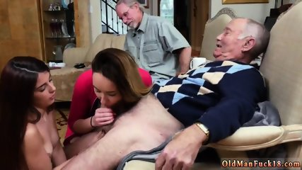 Old man bisexual and creampie gangbang these two hotties go to State University