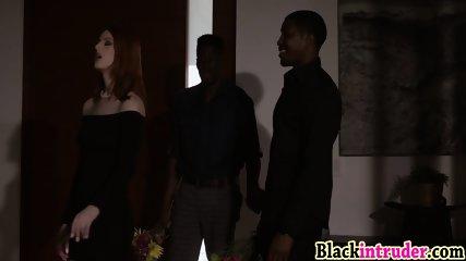 Redhead Alex Harper makes threesome with her black boyfriends
