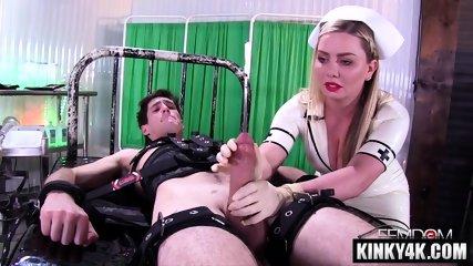 Big tits nurse femdom and cumshot
