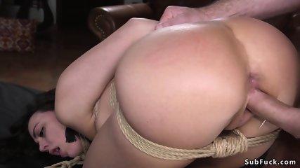 Brunette hottie fucked in bondage by stranger