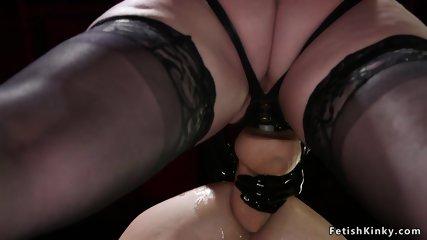 Dom anal fucks gagged male slave doggy