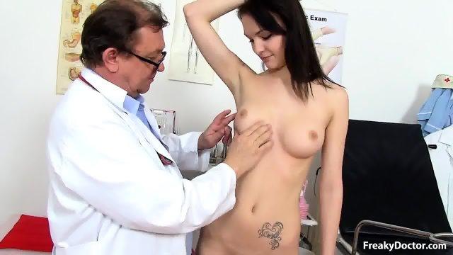 Nice Brunette's Pussy Exam