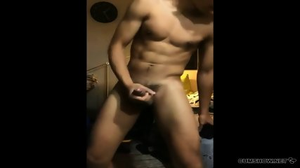 Hot Young Stud Stroking His Cock And Cums On His Shirt