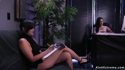 Anal toying and fisting lesbian threesome
